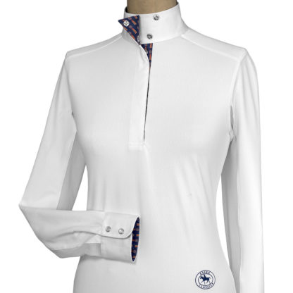 """Tricolor"" Ladies Talent Yarn Wrap Collar Show Shirt"