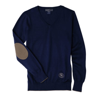 "Navy ""Trey"" V‑Neck Sweater"