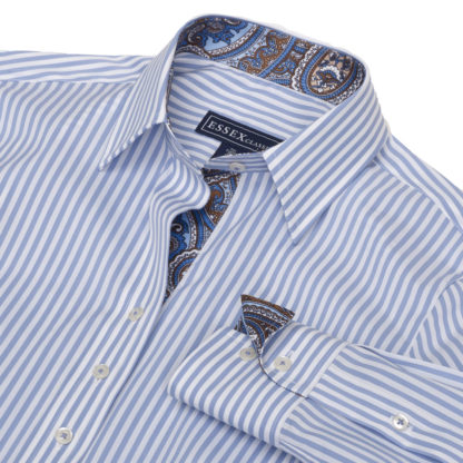 """Dora"" Blue Bengal Stripe Tailored Shirt"