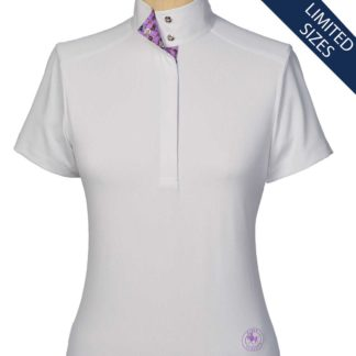 """Cheval"" Ladies Straight Collar European Short Sleeve Talent Yarn Shirt"