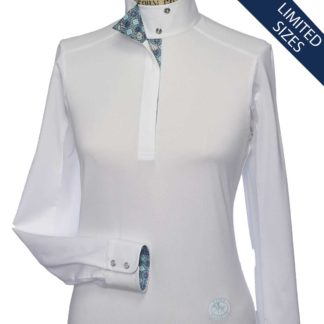 """Flora"" Ladies Talent Yarn Wrap Collar Show Shirt"