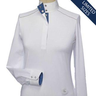 """Figaro"" Ladies Talent Yarn Straight Collar Show Shirt With Shoulder Piping"