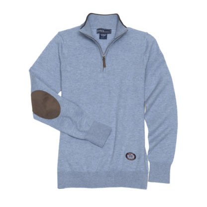 "Light Blue ""Trey"" Quarter‑Zip Sweater"