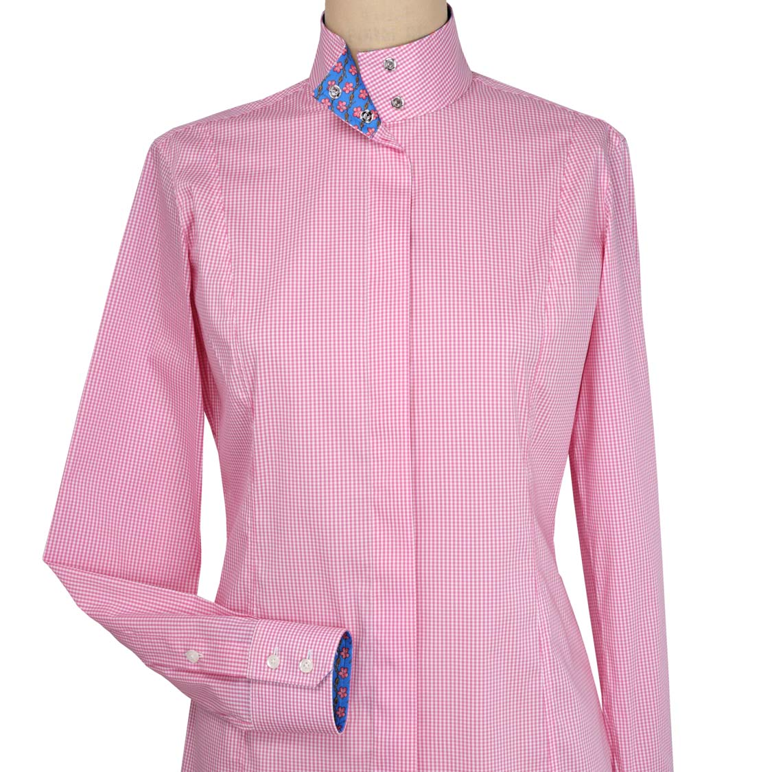 "cb970351 Isabel Pink Gingham"" Ladies Fitted Straight Collar Show Shirt ..."